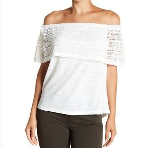 Lucky Brand • White Crochet Lace Ruffle Off-The-Shoulder Top, XS